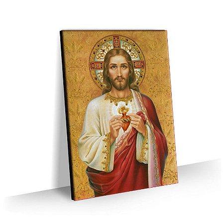 Quadro Sagrado Coração de Jesus Religioso Tela Decorativa