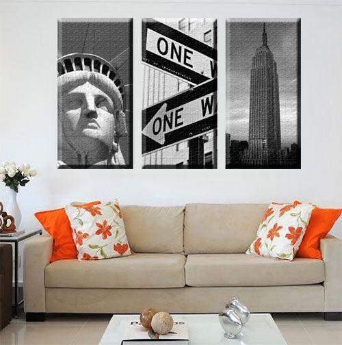 Quadro Estatua da Liberdade Empire State One Way kit 3 Telas Decorativa