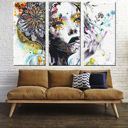 Quadro Abstrato Decorativo Mulher 3 Peças em Tecido Canvas