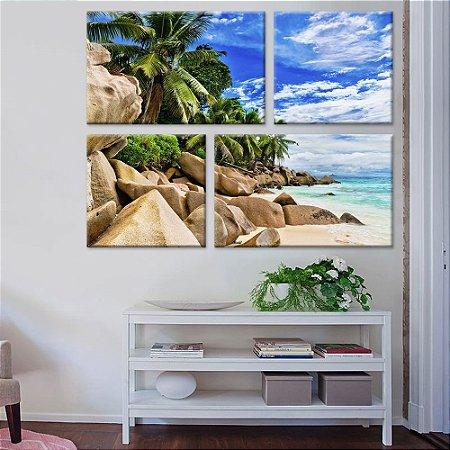 Quadro Praia Paisagem 4 peças Tela Decorativa