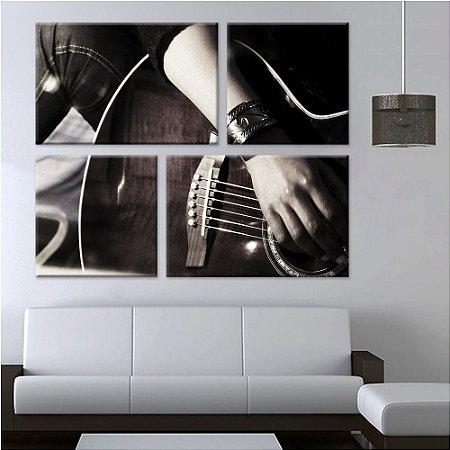 Quadro Violão Musica Decorativo 4 peças em Canvas