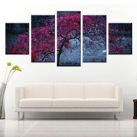 Quadro Abstrato Natureza Folhas Conjunto 5 Telas Decorativa