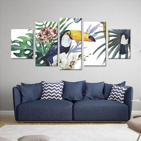 Conjunto 5 Telas Decorativas Quadros em Canvas Floral 04