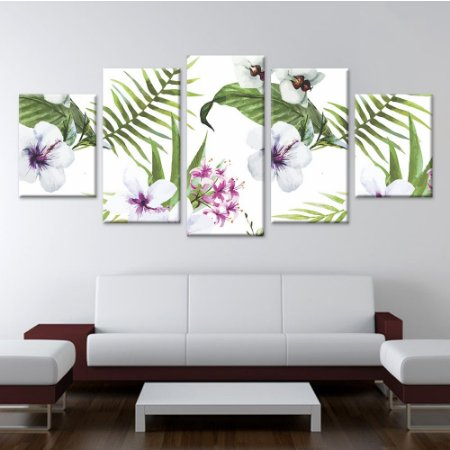 Conjunto 5 Telas Decorativas Quadros em Canvas Floral 07