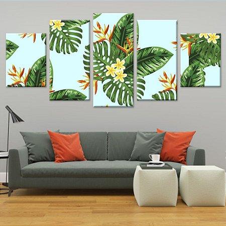 Conjunto 5 Quadros Telas Decorativas em Canvas Floral 10