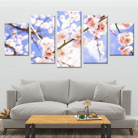 Conjunto 5 Quadros Telas Decorativas em Canvas Natureza Hibiscos