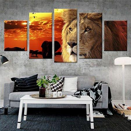 Conjunto 5 Quadros Telas Decorativas em Canvas Leão Selva Africa