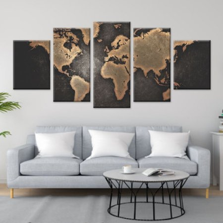 Conjunto 5 Quadros Telas Decorativas em Canvas Mapa Mundi