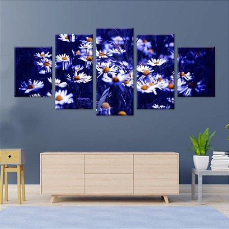 Conjunto 5 Quadros Telas Decorativas em Canvas Margaridas