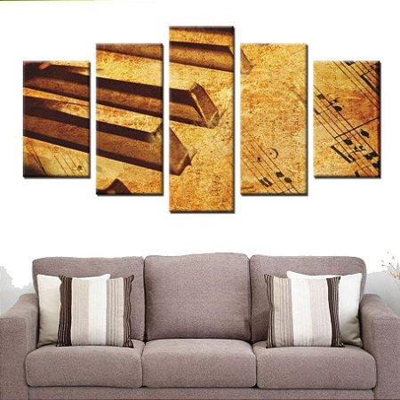 Conjunto 5 Quadros Telas Musica Piano Musical em Canvas