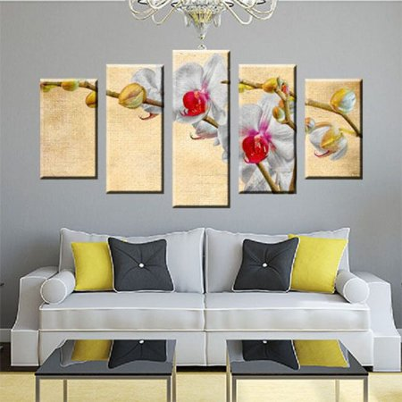 Conjunto 5 Quadros Telas Sala Orquideas em Canvas