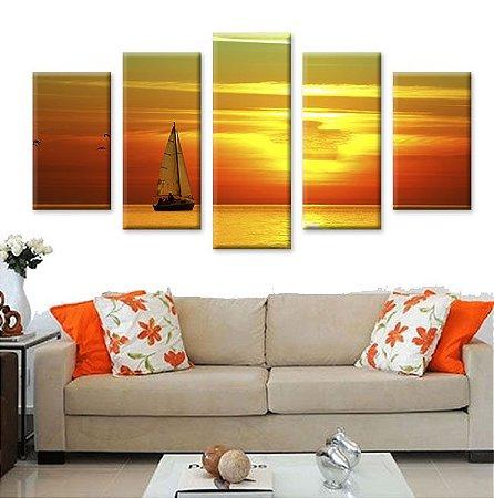 Conjunto 5 Quadros Telas Por do Sol em Canvas