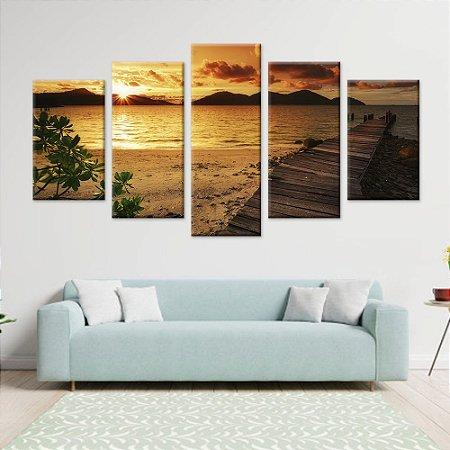 Conjunto 5 Quadros Telas Praia Sol Entardecer em Canvas