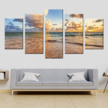 Conjunto 5 Quadros Telas Praia Sol em Canvas