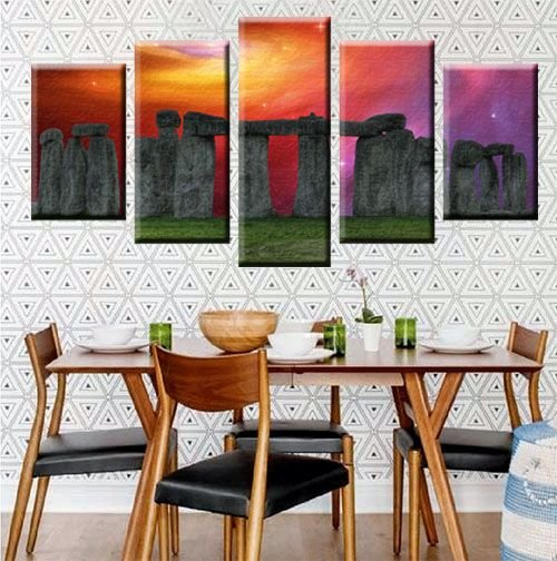 Conjunto 5 Quadros Telas Paisagem Stones em Canvas