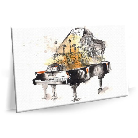 Quadro Pintura Piano Musica Tela Decorativa