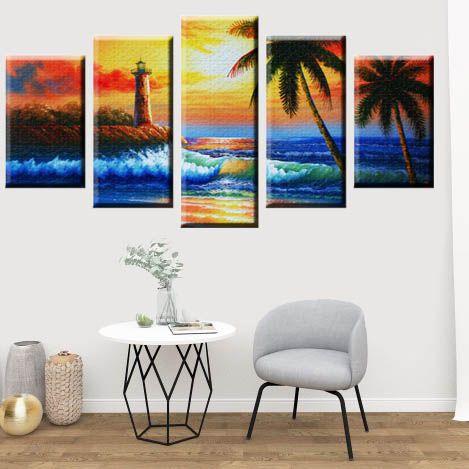 Conjunto 5 Quadros Telas Praia em Canvas