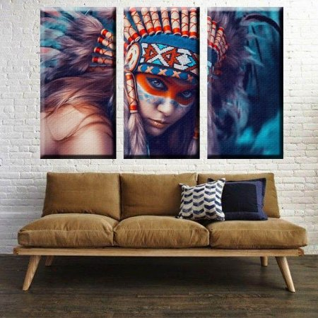 Quadro India Americana Apache Sala 3 Telas Decorativas
