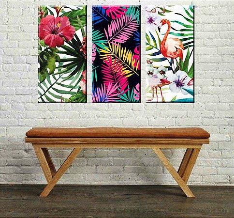 Quadro Floral Sala Tropical 3 peças em Tela Decorativa