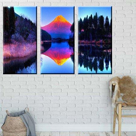Quadro Natureza Monte Fuji 3 peças