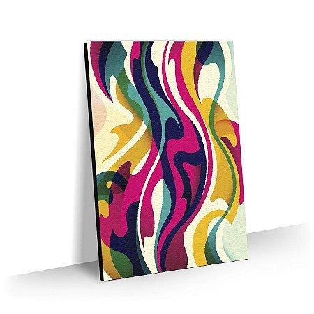 Quadro Abstrato Linhas Colorida Tela Decorativa