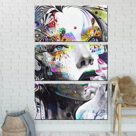 Quadro Mulher Abstrato Sala Escritório em tecido 3 peças