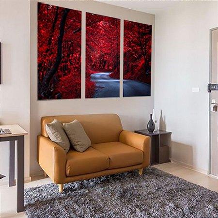 Conjunto de Telas Decorativas Floresta Vermelha 3 peças