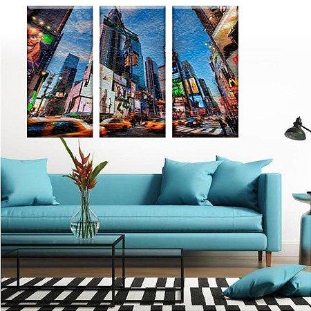 Conjunto de Telas Decorativas Cidade Nova York 3 peças