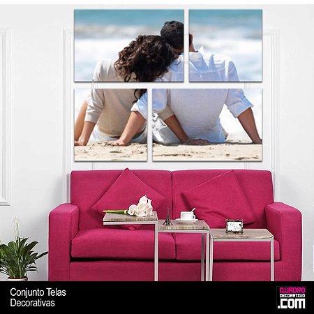 Quadro Personalizado com Sua Foto 4 Peças em Tecido Canvas