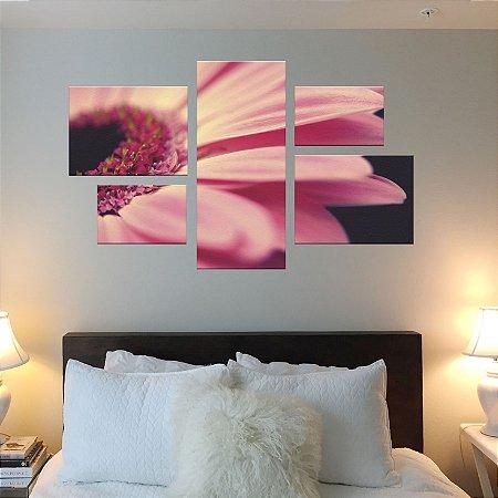Quadro Conjunto Flor Assimétrico em Tecido Canvas