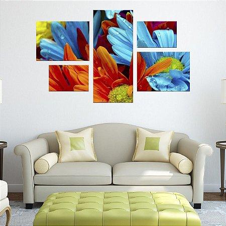 Quadro Conjunto Flores Coloridas em Tecido Canvas