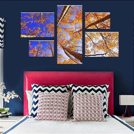 Quadro Conjunto Outono Assimétrico Tela Decorativa em Canvas