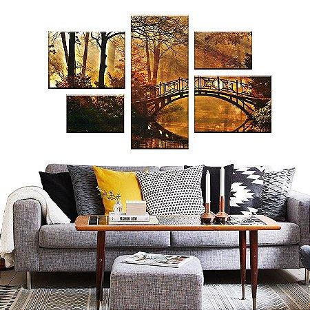 Quadro Conjunto Ponte Assimétrico Tela Decorativa em Canvas