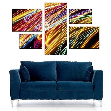 Quadro Conjunto Riscos Assimétrico Tela Decorativa em Canvas
