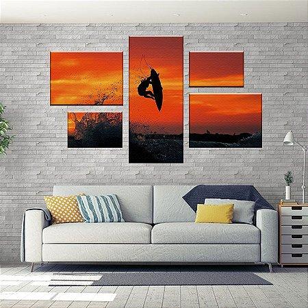Quadro Conjunto Surf Assimétrico Tela Decorativa em Canvas