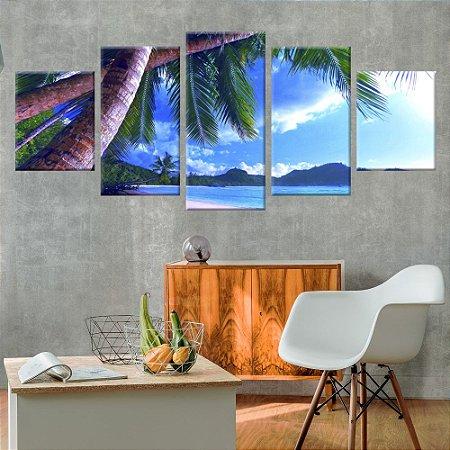 Conjunto 5 Telas Decorativas em Canvas Praia Sunset