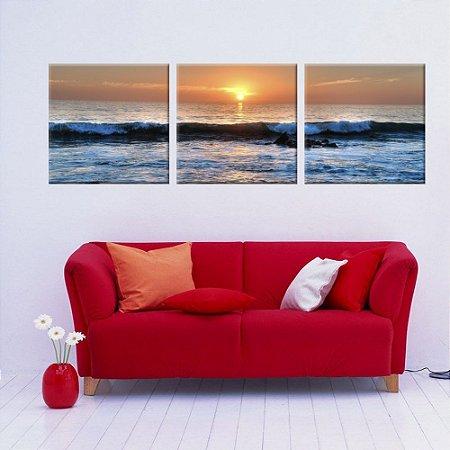 Conjunto 3 Telas Decorativas em Canvas Praia Ondas