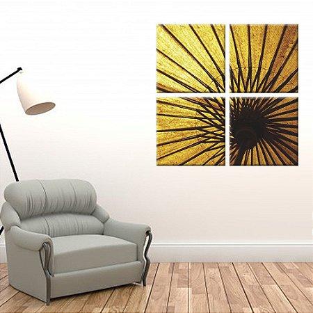 Conjunto 4 Telas Decorativas em Canvas Guarda-Chuva Dourado