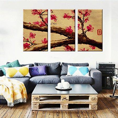 Quadro Flor Natureza Japão Conjunto 3 Telas em Canvas