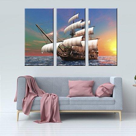 Quadro Paisagem Escuna Pintura Conjunto 3 Telas em Canvas