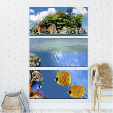 Quadro Natureza Oceano Ilha  3 Telas Decorativa