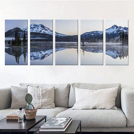 Quadro Natureza Paisagem Montanhas 5 Telas Decorativas em Canvas