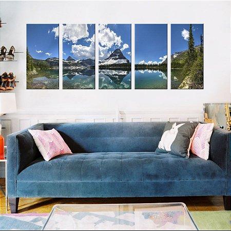 Quadro Natureza  Montanhas Paraiso 5 Telas Decorativas em Canvas