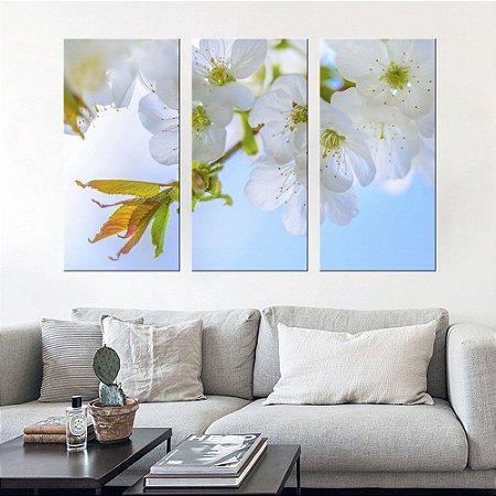 Quadro Natureza Hibiscos Brancos Conjunto 3 Telas em Canvas