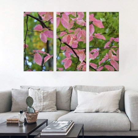 Quadro Natureza Flores Arvore Conjunto 3 Telas Decorativas