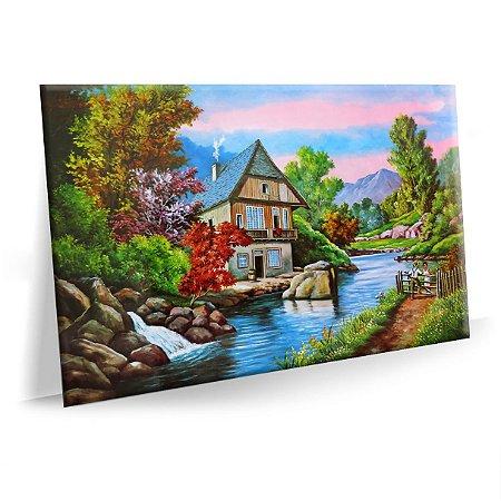 Quadro Pintura Paisagem Lago Antiga Tela Tecido Canvas