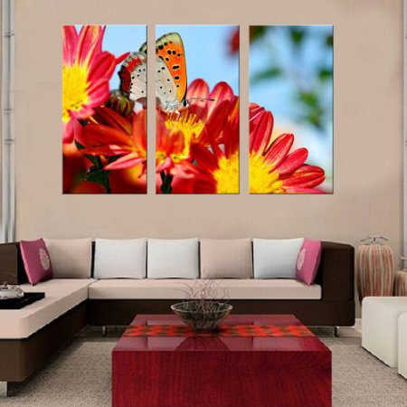 Quadro Natureza Flores Borboleta Conjunto 3 Telas Decorativas