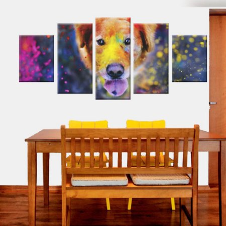 Quadro Cachorro Aqurela Conjunto de Telas Decorativas 5 peças