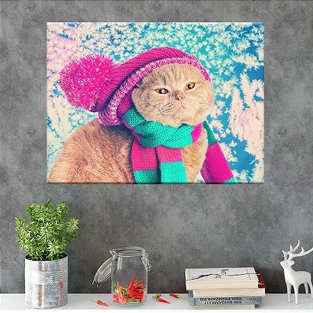 Quadro Animais Gato com Gorro Tela Decorativa