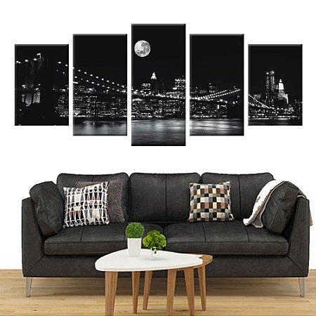 Quadro Ponte do Brooklyn Nova York PB Conjunto 5 Telas Decorativas